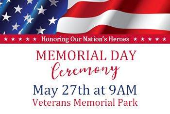 Memorial Day Ceremony on May 27th