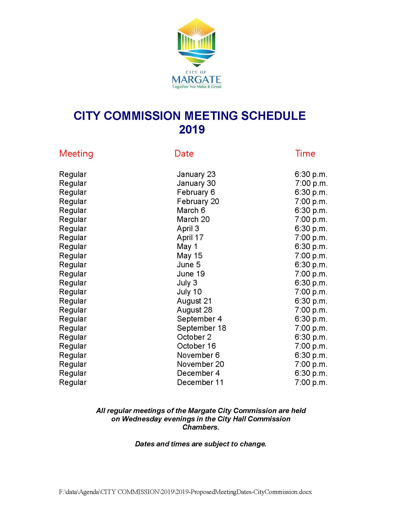 2019 Regular City Commission Meeting Dates