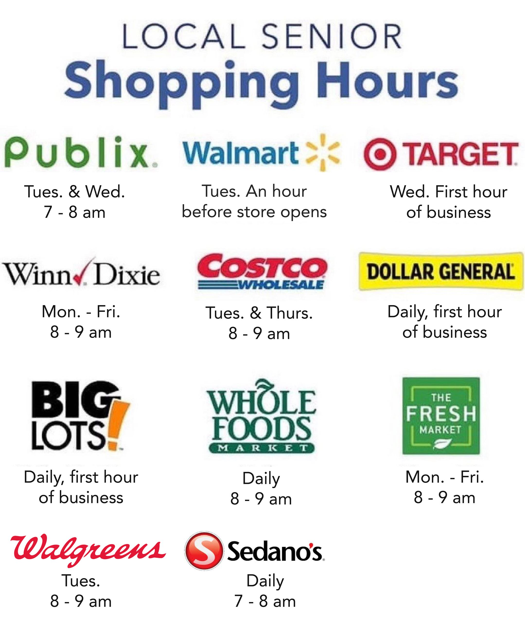 Local Senior Shopping Hours